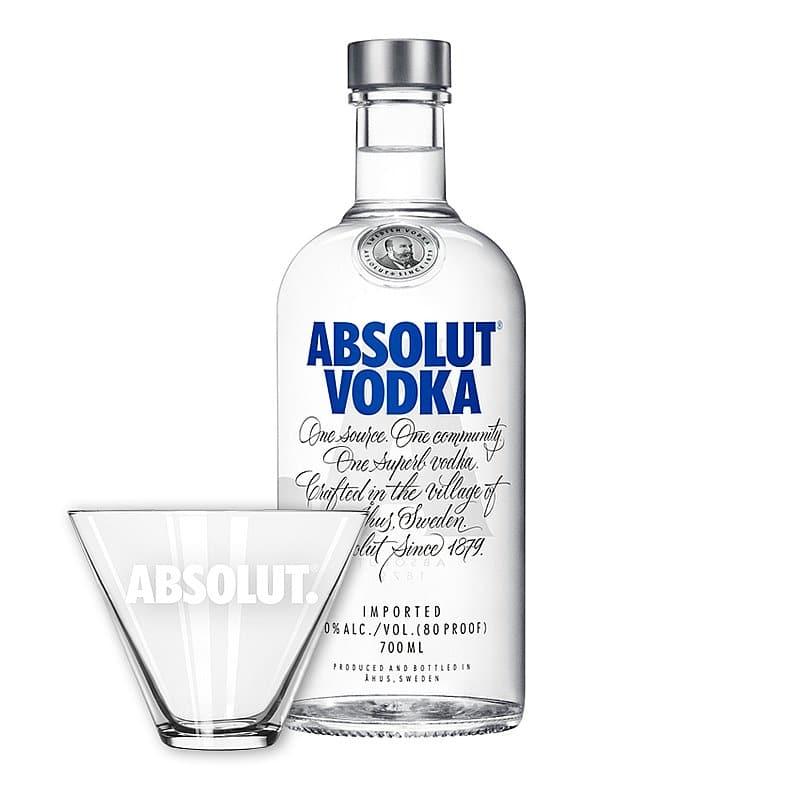 Absolut Vodka + Free Martini Glass