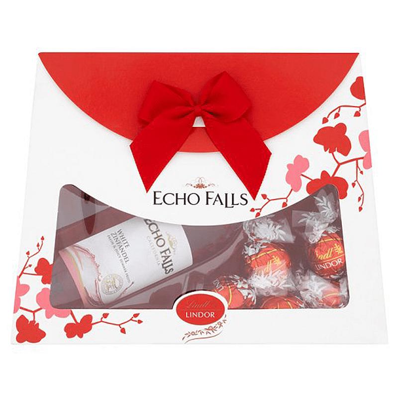 Echo Falls Mini Handbag Rose Wine Gift Set With Lindor Truffles