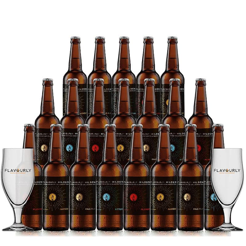 Mixed 20 Case + 2 Glasses by Hilden X Flavourly