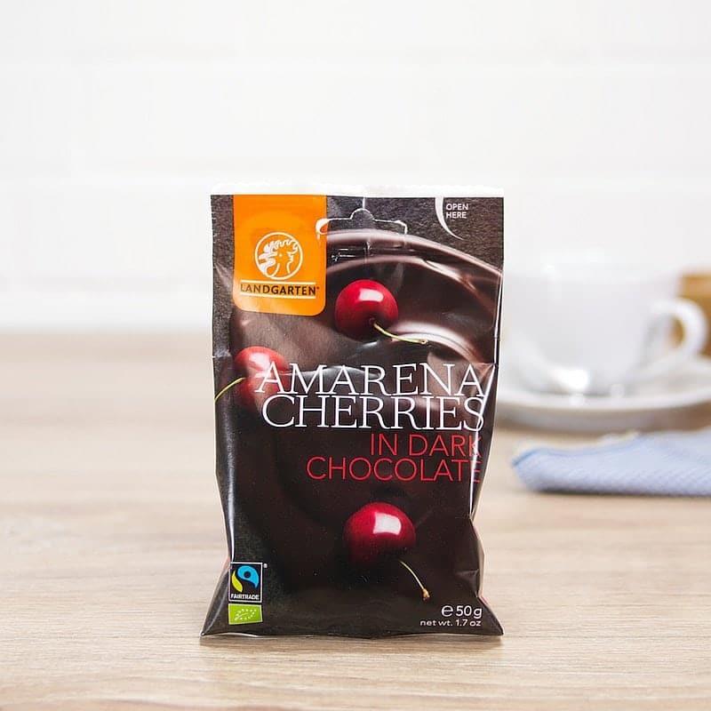 Organic Amarena Cherries in Dark Chocolate by Landgarten