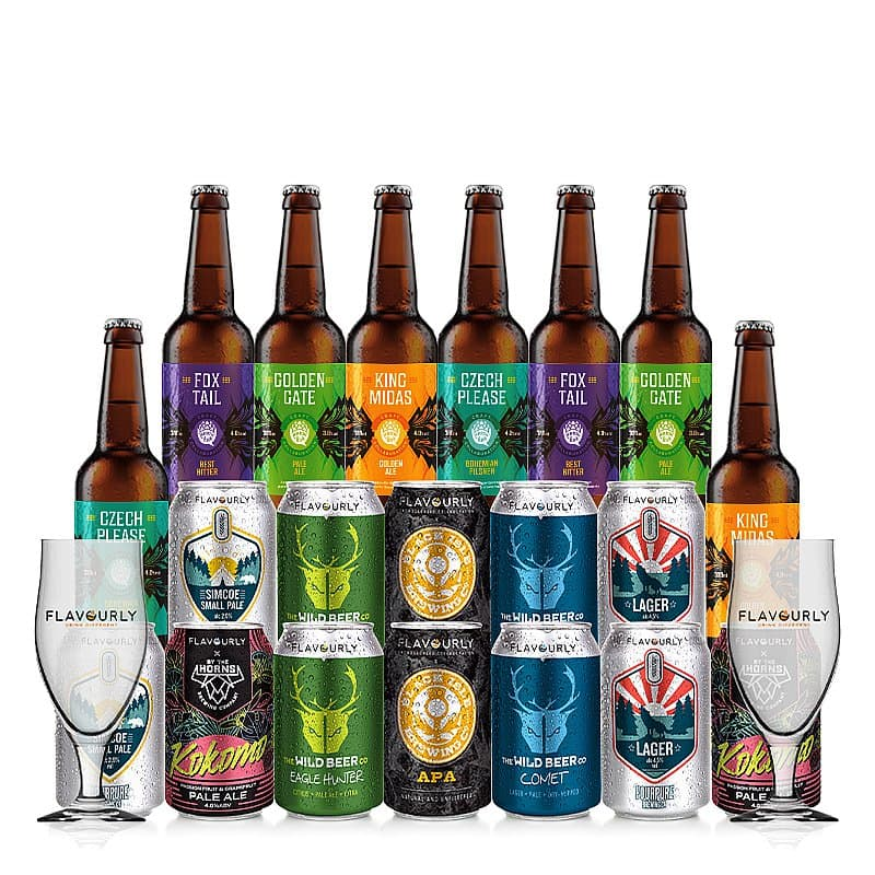 Bottles and Cans Mixed 20 Case + Glasses by Flavourly Collaboration Cases