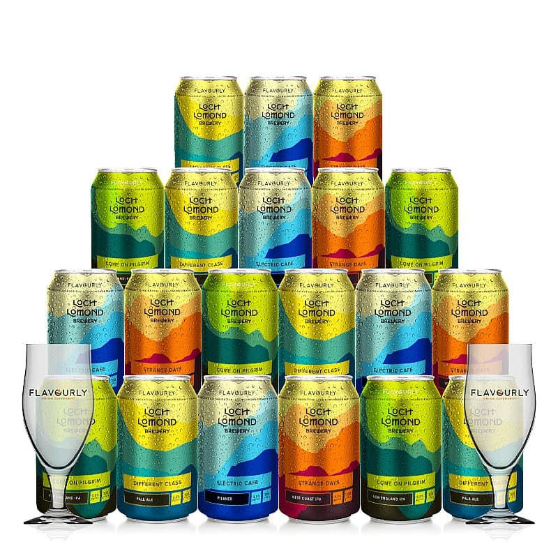 20 Mixed Beer plus 2 Glasses Pack by Loch Lomond Brewery x Flavourly